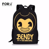 FORUDESIGNS Bendy and The Ink Machine Children School Bags Game Backpack Student School Bag Book Backpack Daily Backpack Bag