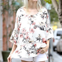 Ivory Ruffle Floral Blouse Top