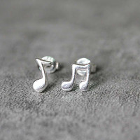 Cute Music Note Earrings, Sterling Silver Music Earrings, Note Earrings, Cute Earrings, Music Studs, Music Jewelry, gift for her