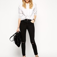 ASOS Ridley Highwaisted Ultra Skinny Ankle Grazer Jeans in Washed Blac