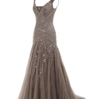 Cocomelody A Line V Neck Long Beaded Evening Dress Bmmc0009