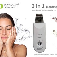 Derma-W Ultrasonic Skin Scrubber, Spatula & Infusion, Exfoliation, Iontophoresis, Facial Lifting, 3 treatments in 1