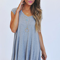 Asymmetrical V Neck Tunic- Grey