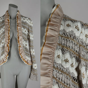 SALE Vintage 80s Sweater / 1980s Gold Ruffled Chenille Knit Open Front Cardigan XS S
