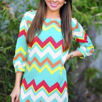 For The Love Of Chevron Shift Dress: Cockatoo | Hope's