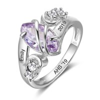 Sterling Silver Personalized Marquise Birthstone Graduation Class Ring