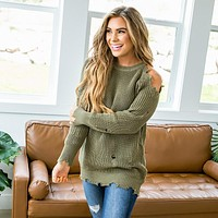 Kendall Olive Distressed Sweater