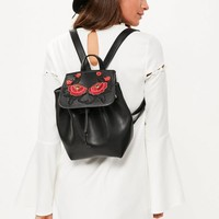 Missguided - Black Faux Leather Embroidered Backpack