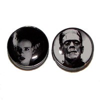 "Frankenstein's Monster and His Bride Plugs - 1 Pair - Sizes 2g, 0g, 00g, 7/16"", 1/2"", 9/16"", 5/8"", 3/4"", 7/8"" & 1"""