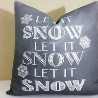 Christmas pillow covers Chalkboard Christmas Let It Snow Pillow Cover 18x18 Christmas Gift
