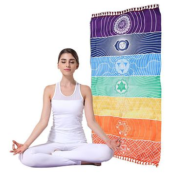 India Like Echarpe Beach Towel Mandala Blanket Rainbow Stripe 150x70cm Polyester Shawl Dorp Shipping