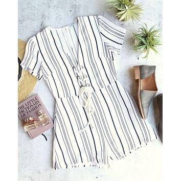 Final sale - LUSH - morning talks stripe romper - off white