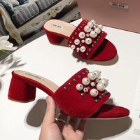 MIUMIU 2018 counter section high-heeled thick heel pearl rivets word cool slippers shoes F-OMDP-GD red