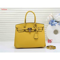 """""""Hermes"""" ladies fashion simple casual top layer leather lychee pattern shoulder bag Yellow"""