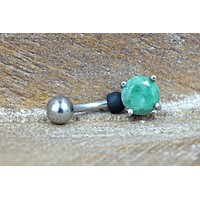 Green Amazonite Belly Button Ring