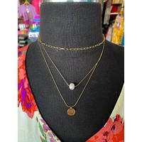 Rare Pearl Layered Necklace-Gold/Pearl accent- 3 layers