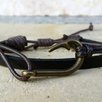 FREE SHIPPING-Mens Leather Bracelet, Woman Leather Jewelry, Dark Brown Leather, Nautical Bronze, Leather Bracelet