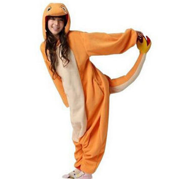 free pp New Pokemon Charmander Unisex Adult Animal Onesuits Cosplay Costume Pajamas Hot Sale