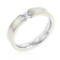 Tension Set Solitaire Stainless Steel Ring, size : 06