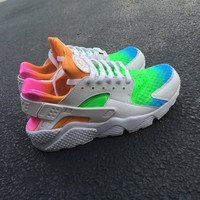 Custom Nike Huarache Run Pink Blue Orange Green Fade