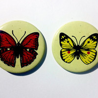 Set of 2 vintage Soviet era tin pins pinback buttons with butterflies, made in the USSR (1980s)