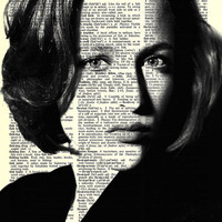"""Agent Scully  - Gillian Anderson  - X Files - Paper Ephemera - 8x11""""  Print on Vintage repurposed paper - Dictionary Art Print"""