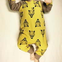 Organic tiger coverall, baby boy jumpsuit, organic baby clothing, Rady to ship, size 0-3 months