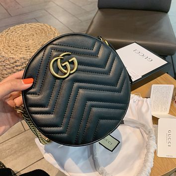 GUCCI New fashion letter mouse print leather round chain shoulder bag crossbody bag White