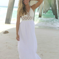French Polynesia Crochet Halter Top White Maxi Dress