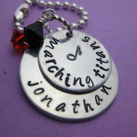 Perfect Harmony - Deluxe Hand Stamped Personalized Custom Music Necklace - perfect for marching band or show choir