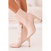 First Strike High Gloss Patent Leather Bootie (Nude Patent)