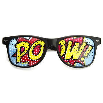 POW Pop Art Mesh Print Horned Rim Glasses 8856