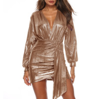 Fashion New Solid Color V-Neck Long Sleeve Dress Women Gold
