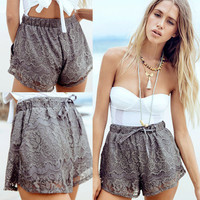 Women Ladies High Waist Floral Denim Lace Crochet Shorts Elastic Short