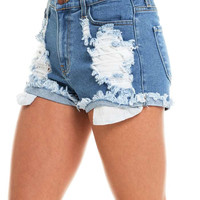 Silent Noise High Waist Denim Shorts