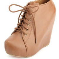 LACE-UP PLATFORM WEDGE BOOTIES