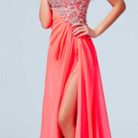 (PRE-ORDER) Mac Duggal 2014 Prom Dresses - Neon Coral & Silver Stone Embellished Asymmetrical Gathered One Shoulder Gown