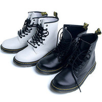 Womens Black White Solid Military Combat Boots Shoes US 6~9 / Ladies Ankle Boots