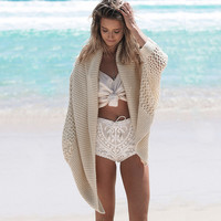 Bikini Beach Cover Up Casual Knitting Bat Sleeve Beach Cardigan Beach Wear