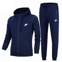 NIKE classic autumn and winter outdoor men and women sports fitness clothing two-piece