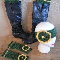 Flower Headband - Boot Cuffs - Fingerless Gloves - Knitted Set - Gift Set - Team Colors - Pick Your Color