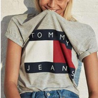 PEAP Tommy Hilfiger Tommy men and women classic tee shirt T-shirt