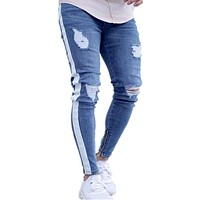 2018 Jeans for Men Tape Designer Distressed Stretch Jeans fashion Brand Blue Skinny Jeans Ripped Slim Fit for Guys Plus Size