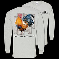 Southern Couture Preppy Classic Rooster Fall Long Sleeve T-Shirt