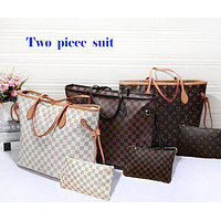 LV Louis Vuitton Women Shopping Leather Tote Handbag Shoulder Bag Two-Piece