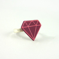 CD recycled adjustable ring : Fushia pink and candy pink stylized diamond - by Savousepate