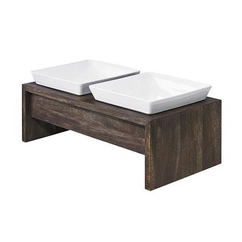 Artisan Rubberwood Double Elevated Dog Bowl Feeder — Walnut