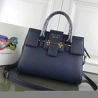 prada women leather shoulder bags satchel tote bag handbag shopping leather tote crossbody 266