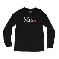 Mrs with heart dot (Mr and Mrs set) Long Sleeve Shirts