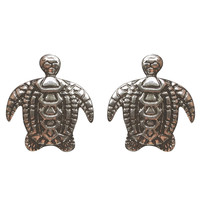 Etched Turtle Button Earrings   Wet Seal